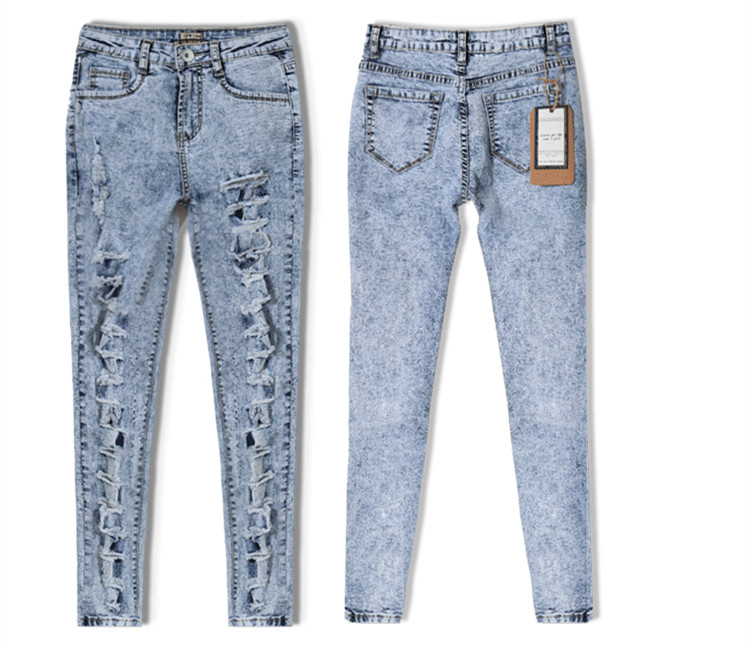 dacca883af2cd7 New sexy distressed high waisted washed hole jeans full length pencil pants  trousers leggings jegging plus size woman women-in Jeans from Women's  Clothing ...