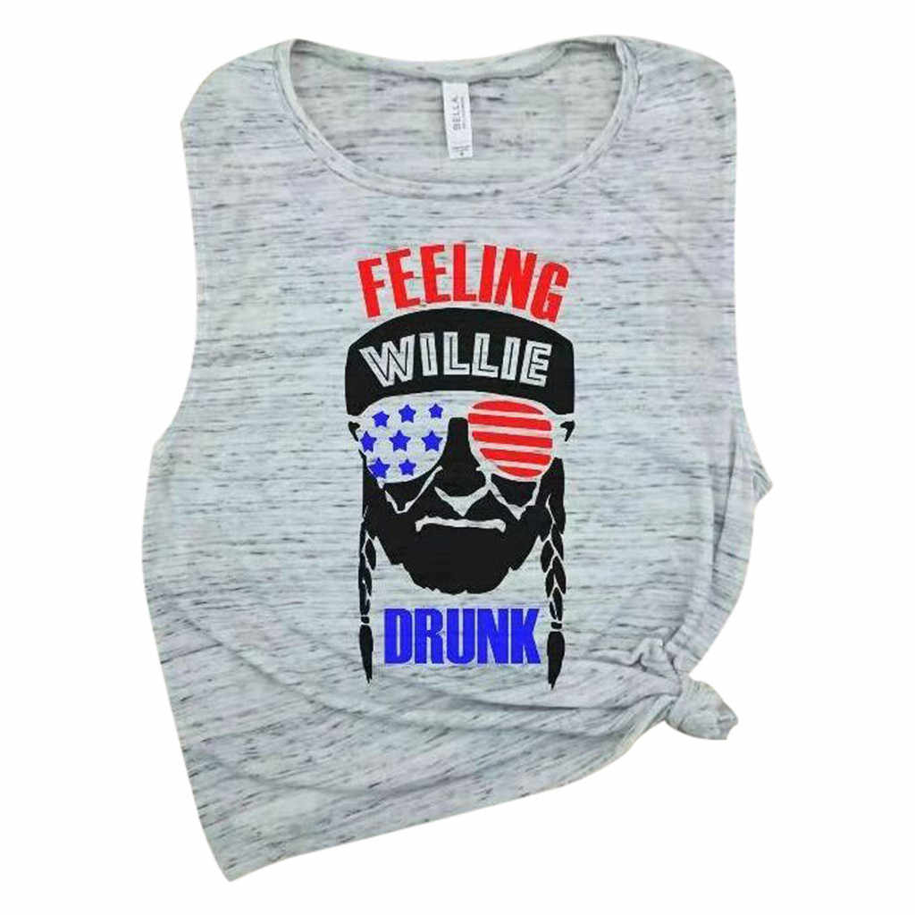 Blusas mujer de moda 2019 blusa mujer señoras sensación estampado de bandera estadounidense sin mangas camiseta blusa