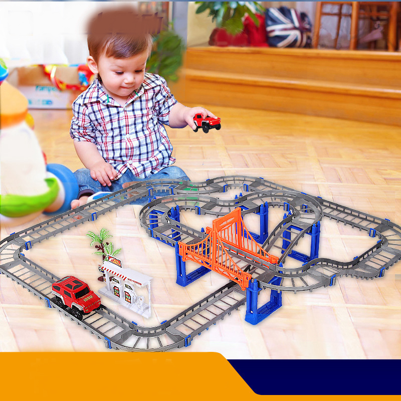 Children's Railway Track Model Toys Baby Rail Tracks Racing Cars Road Toys For Children Hobbies Action Toy Figure