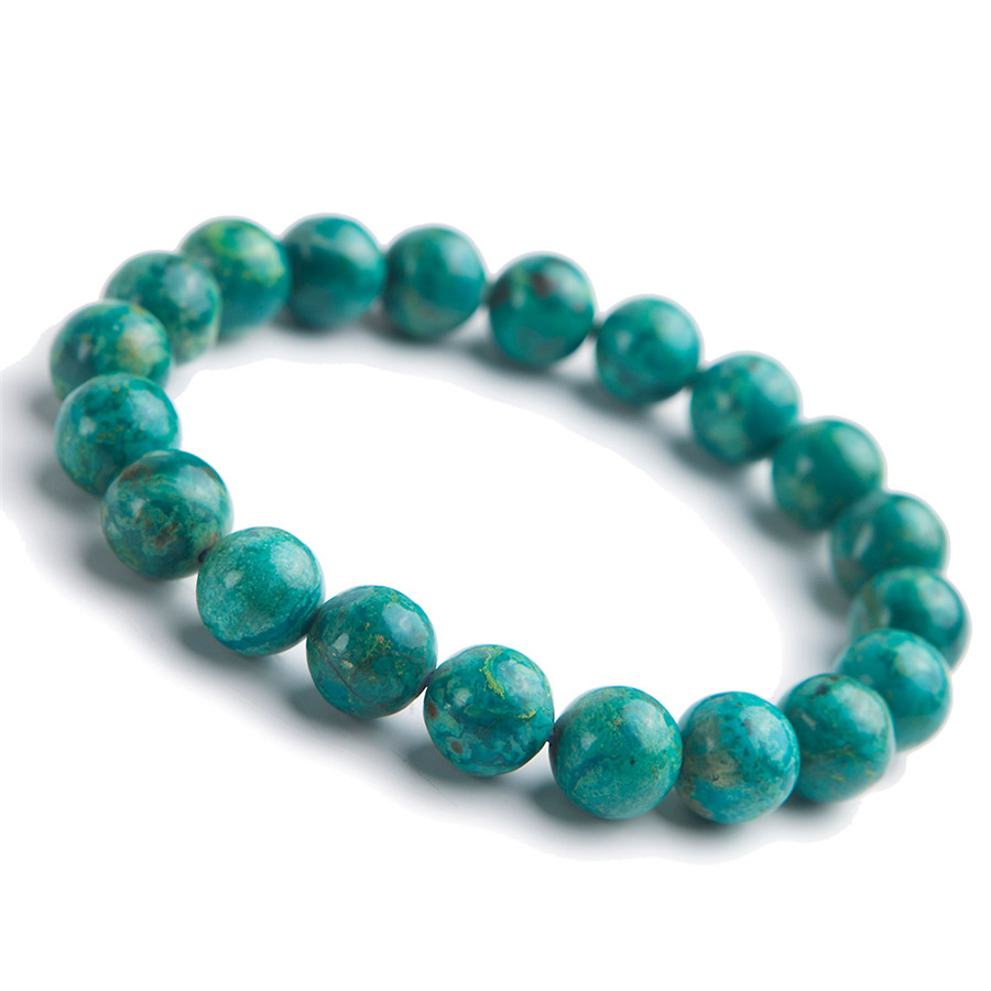 9.5mm Genuine Green Natural Chrysocolla Bracelets For Women Femme Stretch Crystal Round Bead Natural Malachite Bracelet9.5mm Genuine Green Natural Chrysocolla Bracelets For Women Femme Stretch Crystal Round Bead Natural Malachite Bracelet