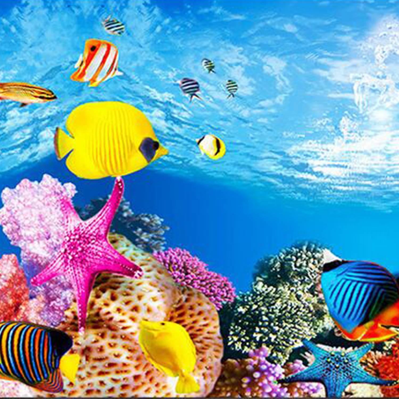 1 Practical Aquarium background paper HD picture 3d three dimensional fish tank wallpaper ...