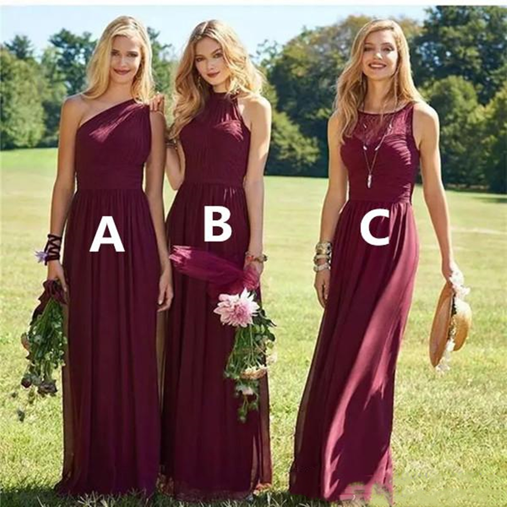 2019 Burgandy Garden Bridesmaid Dresses A Line One Shoulder Floor Length Chiffon Bridesmaid Gowns