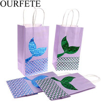 5pcs/set Mermaid Tail Paper Bag Kraft Packaging Gift Baby Shower Candy Box Birthday Party Favor Wedding Supplies