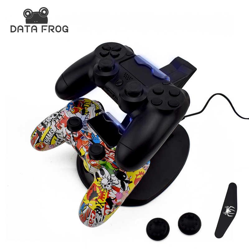 Данных Лягушка двойной usb зарядная док-станция зарядное устройство для sony PS4 playstation 4 игровой контроллер подставка держатель зарядное устройство s для PS4 тонкий PS4 Pro