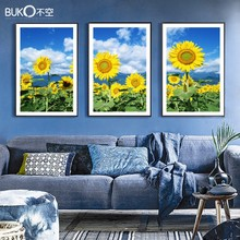 3 piece Canvas painting modern Russian flower sunflower yellow paintings Home Decoration Modular pictures wall art New product