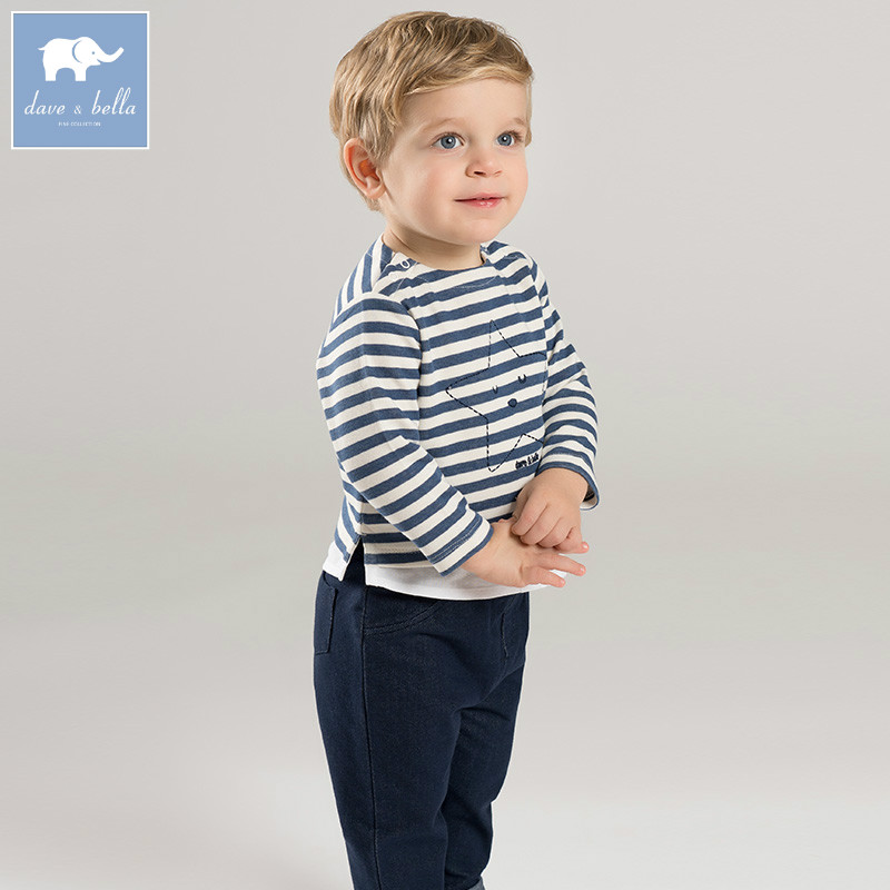 DB7368 dave bella spring baby boys navy clothes kids striped clothing sets toddler children suit high quality infant outfits db7386 dave bella spring baby boys clothing sets panda print toddler children suit high quality infant outfits