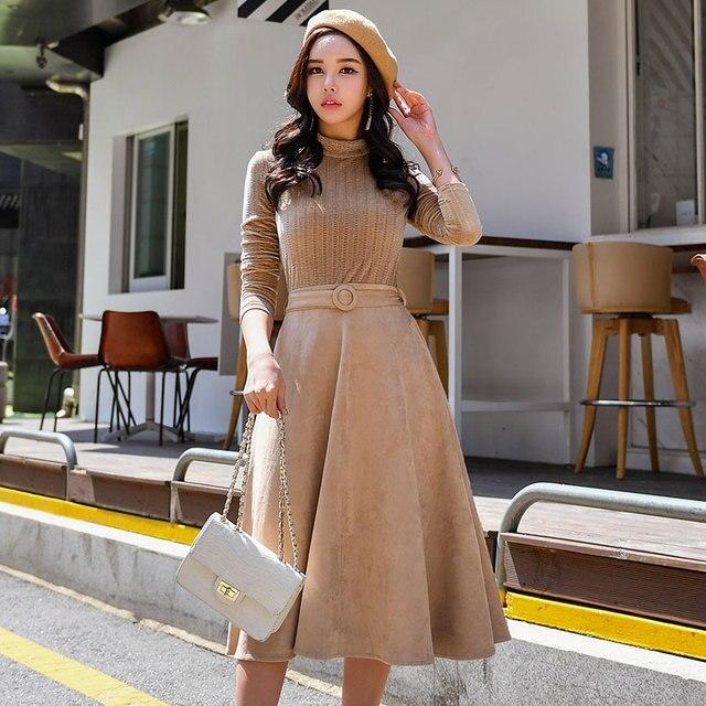 Dabuwawa Autumn Winter Dress New Vintage Turtleneck Slimming A-line Full Sashes Mid-Calf Empire Dress D18CDR073