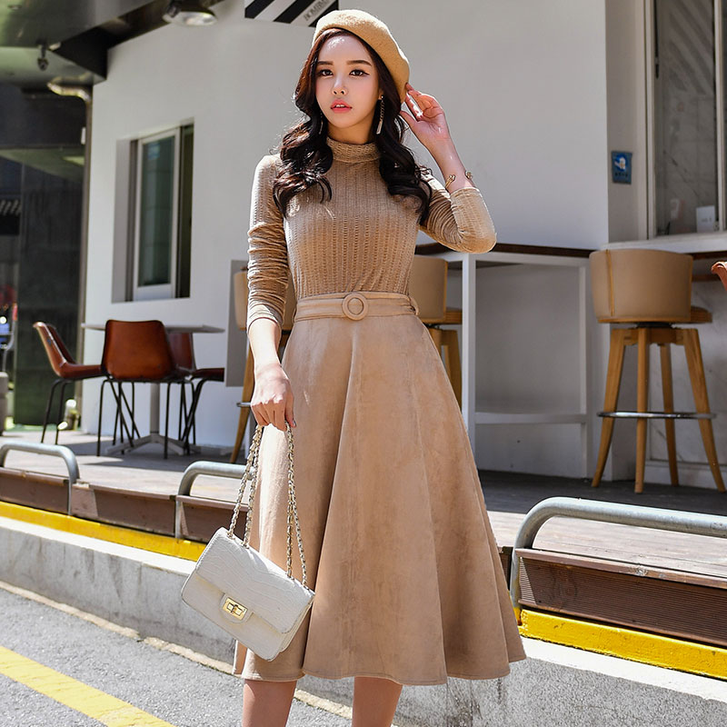 Dabuwawa automne hiver robe nouveau Vintage col roulé minceur a-ligne ceintures complètes mi-mollet Empire robe D18CDR073