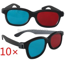 10x Universal 3D Glasses Black Frame Red Blue 3D Visoin Glass For Dimensional Movie cinema Game DVD Video TV projector