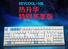 keycool 108 dyesub winter full size PCB mount mechanical keyboard white frame cherry mx switches PBT gaming keyboard