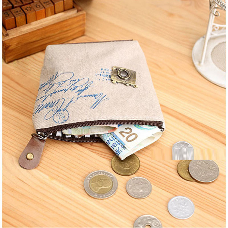 bolsa da moeda pequena chave Shape : Canvas Cartoon Small Coin Purse Short Bag
