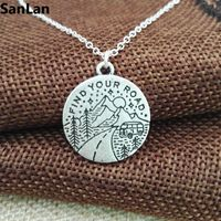 3pcs Good Quality Antique Silver Plated Find Your Road Necklace Travel On The Mountain Vintage Pendant