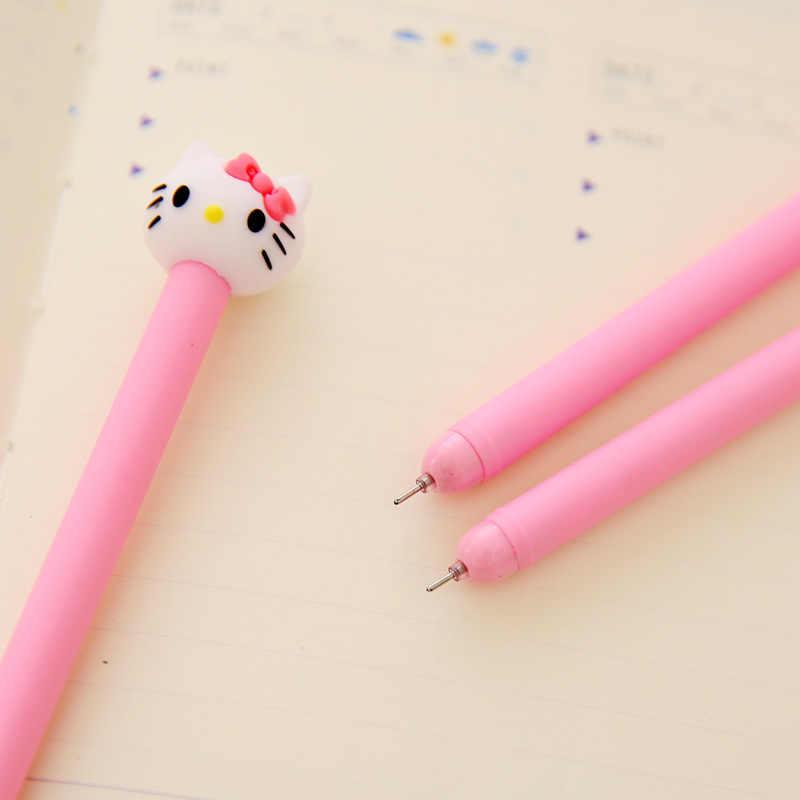 1 Pcs South Korea Creative Pen Stationery Cartoon Cute Cat Soft Gum Black Neutral Pen Kawaii School Supplies Pen for Writing
