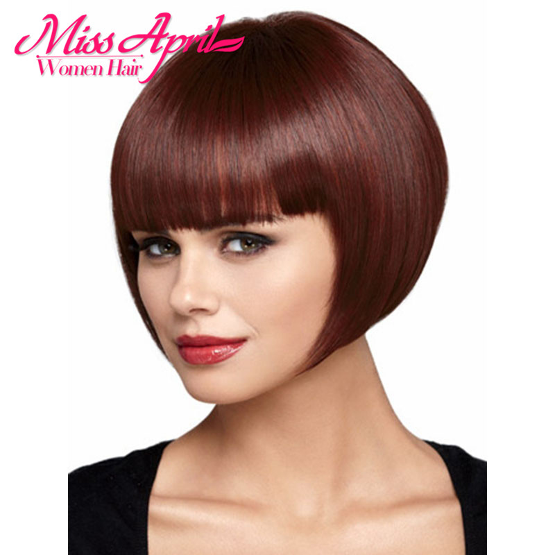Fashion Sexy Fluffy Bob Ladies Synthetic Wig Women Short Straight Wine Red Hair Pelucas Cosplay Lolita Kylie Jenner