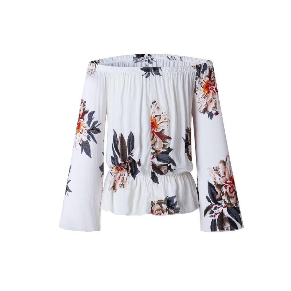 Slash neck Off Shoulder Beach Casual Print T-shirts for Women Harajuku Top Women Crop Top Fashion Women's T-shirts Tops Clothing 4
