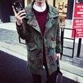 Moda Camuflagem dos homens Metrosexual Casaco de Lã Masculino 2017 Nova Primavera Runway Estilo Camo Casaco Outerwear