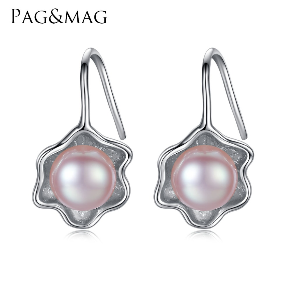PAG&MAG Brand Vintage Earrings 925 Sterling Silver Vintage Drop Pearl Earrings for Party Jewelry Wholesale Gift Box FreePAG&MAG Brand Vintage Earrings 925 Sterling Silver Vintage Drop Pearl Earrings for Party Jewelry Wholesale Gift Box Free