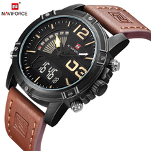 Fashion Casual Leather Men's Quartz Analog Digital Wristwatch Waterproof Military Army LED Outdoor Sport Watches Male Clock
