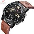 Moda Casual de Los Hombres de Cuero de Cuarzo Analógico Digital Reloj de Pulsera Impermeable Militar Del Ejército LED Deporte Al Aire Libre Relojes Reloj Masculino