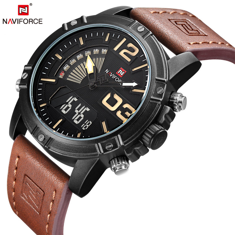 NAVIFORCE Fashion Casual Leather Men s Quartz Analog Wristwatch Waterproof Military Army LED Outdoor Sport Watches