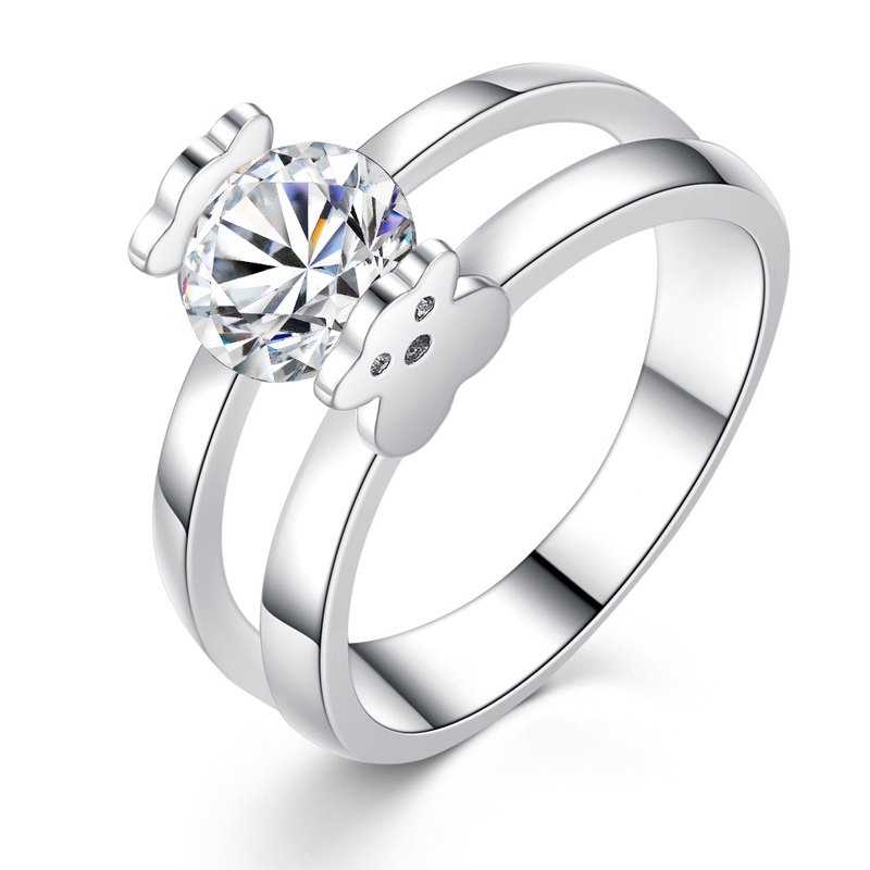 Kobitace Engagement Rings Jewelry Cubic-Zircon Party Wedding Silver Bear Fashion Women