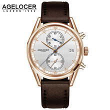 AGELOCER men famous brand chronograph portuguese electronic watch men Analog With Stainless Steel Band erkek kol