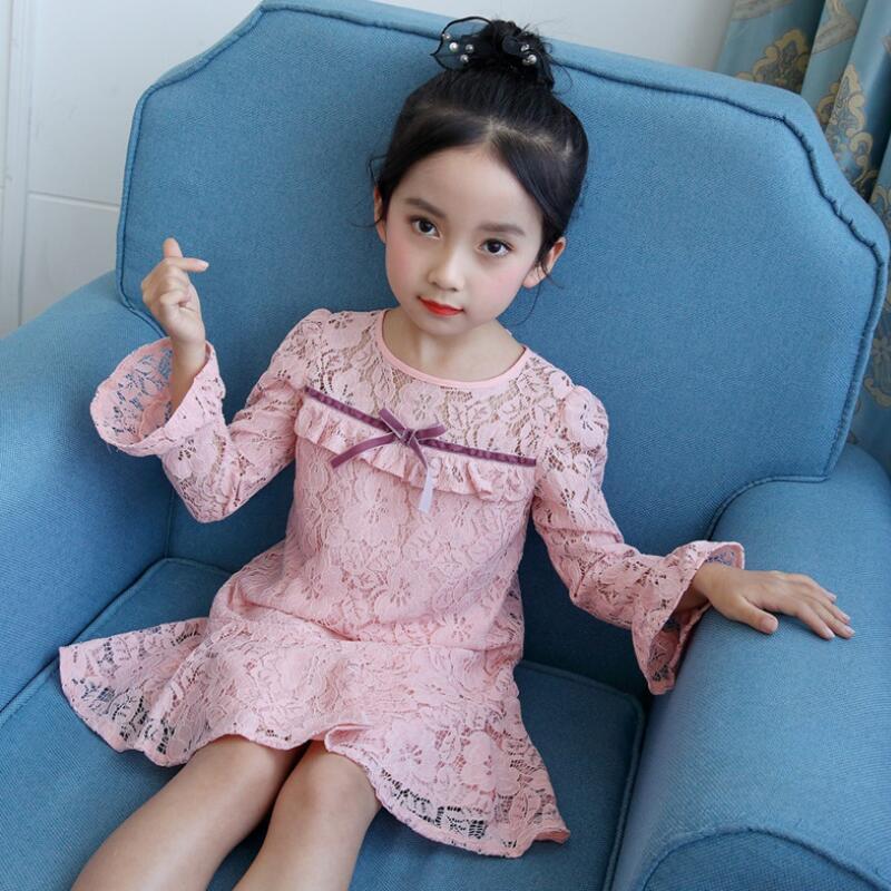 c1404a864 € 19.28 |2018 primavera grandes Niñas princesa Encaje manga larga niños  Partido cumpleaños Vestidos para niña niño ropa jw3299a en Vestidos de ...
