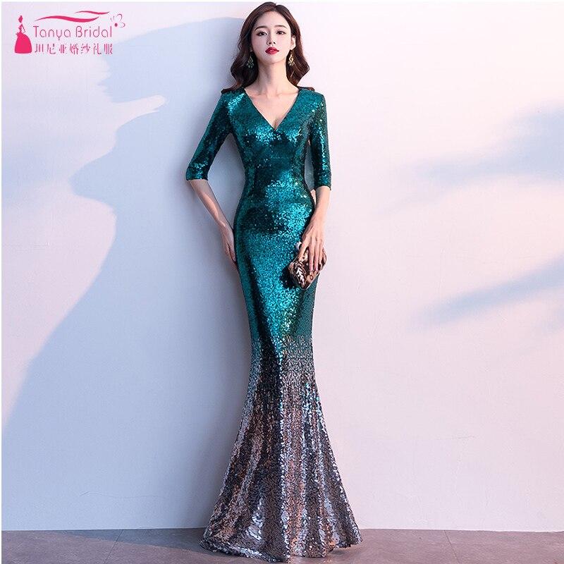 Vert foncé/or/noir paillettes robes de demoiselle d'honneur scintillant sirène contraste couleurs élégantes femmes robes formelles Honor ZB096