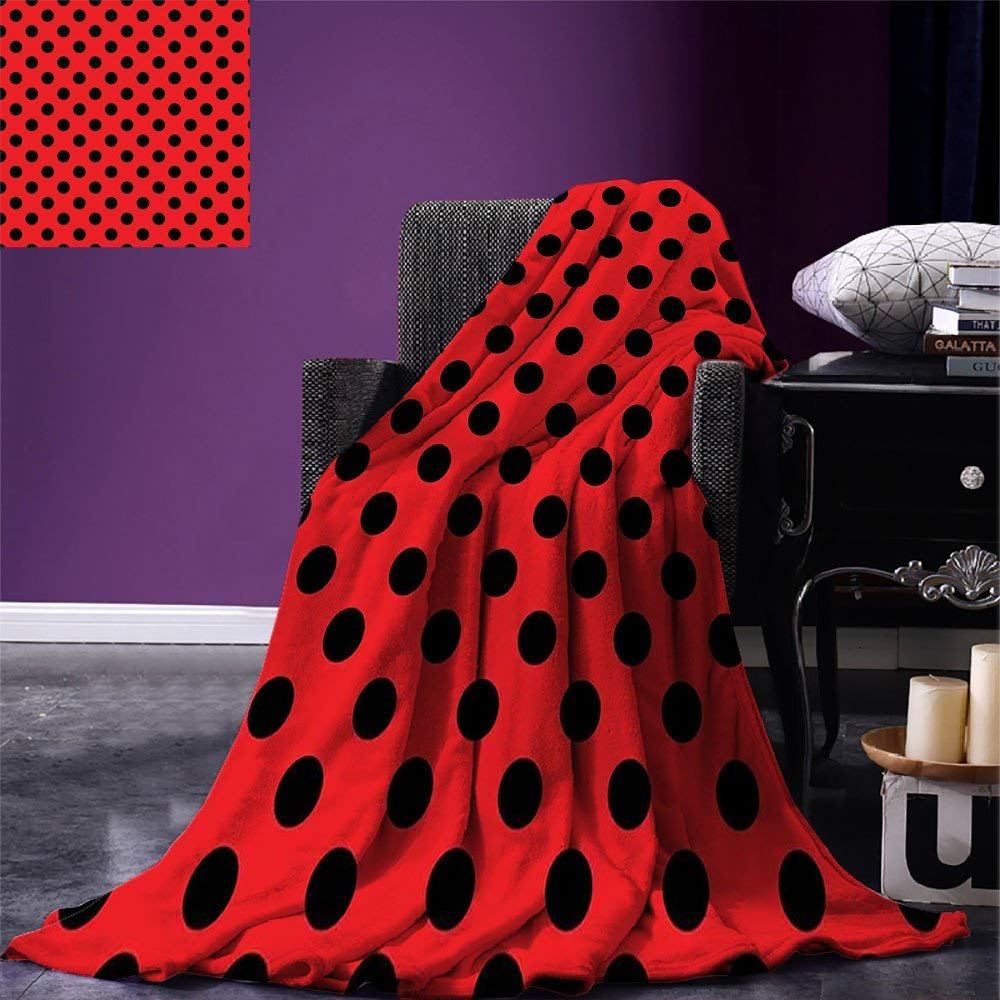 Red and Black Throw Blanket Retro Vintag