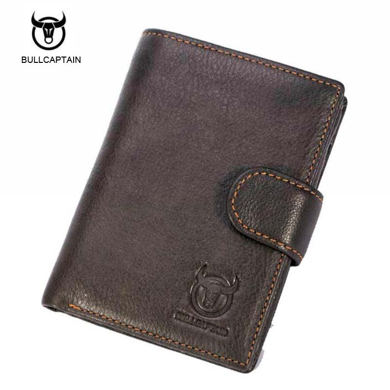 Bullcaptain Genuine Cow Leather Men Wallet Fashion Coin Pocket Brand Trifold Design Men Purse High Quality Male Card ID Holder  new sale fashion genuine leather business trends men purse top quality wallet coin pocket purse card free shipping
