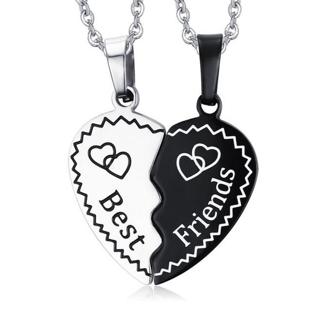 Best Friend Black White Heart Jigsaw Pendant Necklace Carved Word