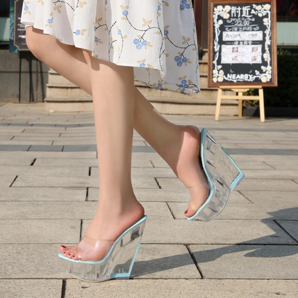 Ladies Women Summer Wedge Heels Slip On Slides Mules Sandals Beach Casual Shoes