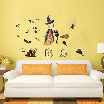 Wall Decals Happy Halloween Witch Vinyl Removable DIY Sticker Murals ...