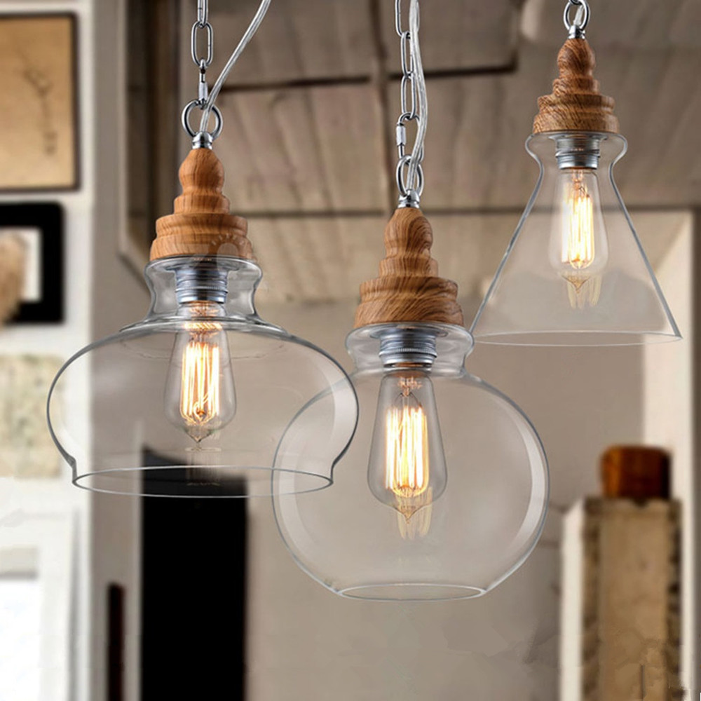 Clear glass shade modern pendant lights vintage american country clear glass shade modern pendant lights vintage american country lighting fixtures kitchen antique mini led pendant ceiling lamp in pendant lights from arubaitofo Image collections