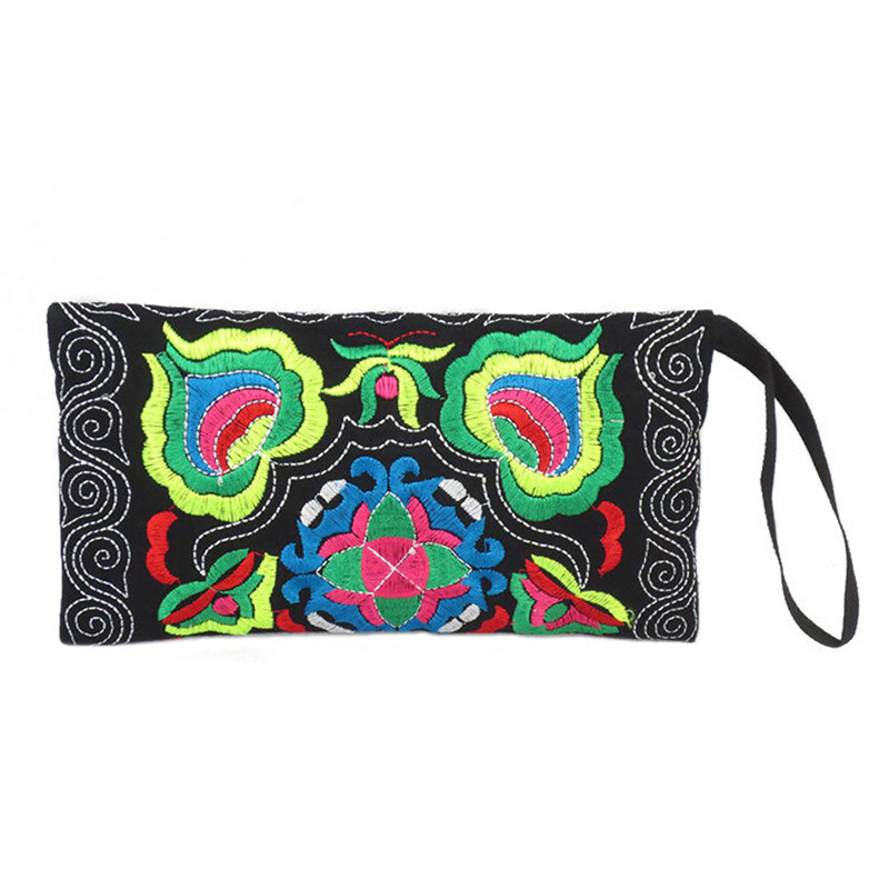 National Trend Embroidered Women Wallets Long Handmade Embroidery Floral Canvas Double Zipper Coin Purse Credit Card Holder national trend women handmade faced flower embroidered canvas embroidery ethnic bags handbag wml99