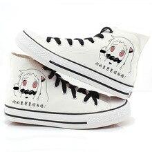 Hombres Mujeres Anime Collection Mano Pintado Zapatos de Lona High-Top Niños Niñas de Dibujos Animados de Graffiti Zapatos de Cosplay zapatos Planos tamaño Del Zapato 35-43