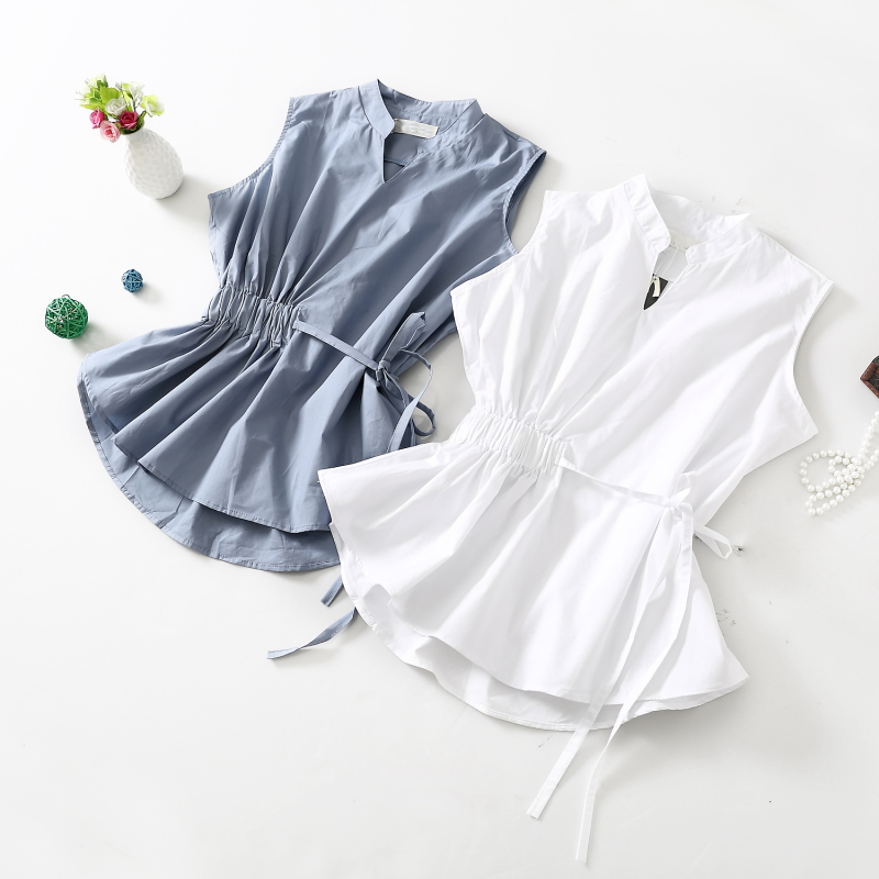 Korean Style Stand Collar Sleeveless Slim Blouse Drawstring Waist Peplum Shirt Plus Size Elegant OL Summer Top Camisas Chemises