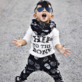 2016 Осень-Весна Детская Одежда Детская Одежда Устанавливает Письмо Печати модели Хлопка С Длинным Рукавом 2 шт. Детская Одежда Мальчика
