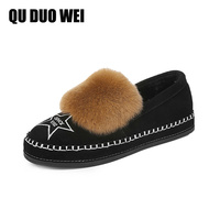 2018 Fashion Women Shoes Real Rabbit Fur Loafers Women Moccasins Casual Flat Shoes Handmade Soft Comfortable
