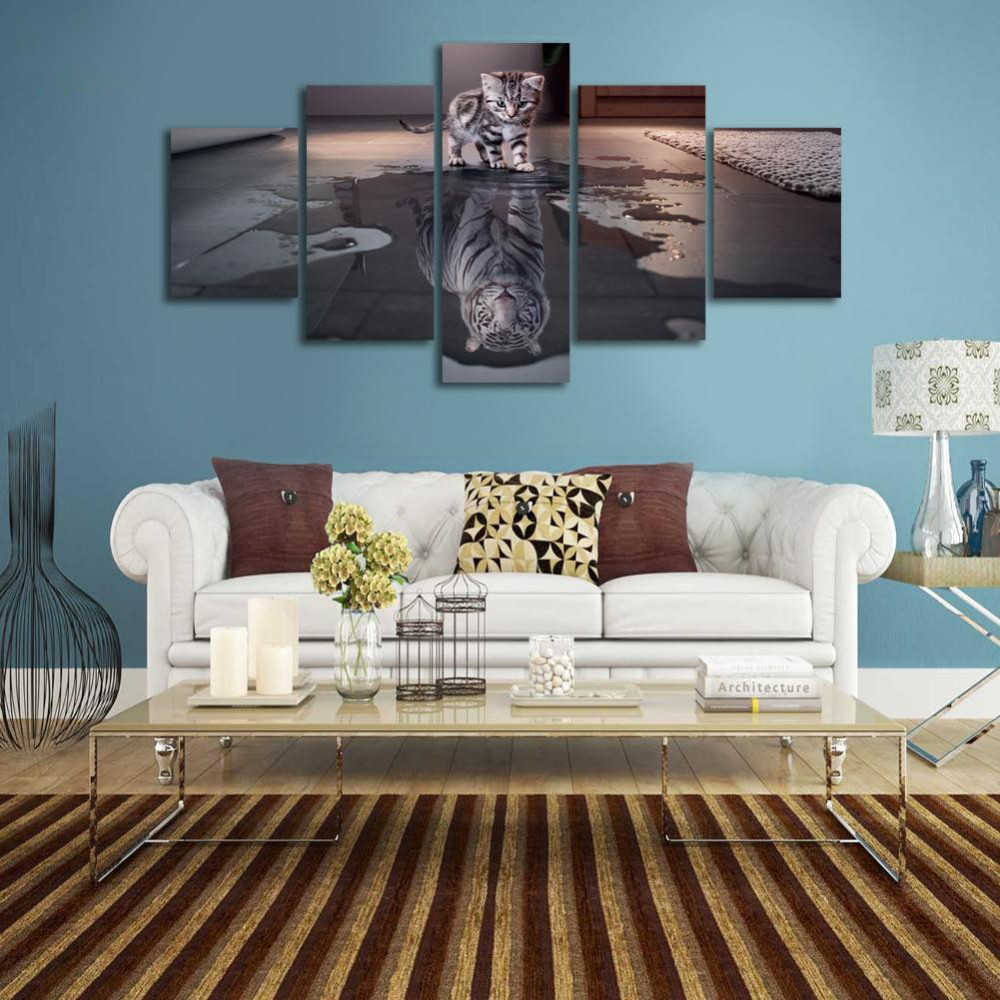 5 Pieces/Set Cat and Tiger Aninal Prints Painting Canvas Paintings Poster Pictures Home Decor For Living Room