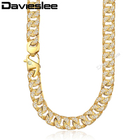 Miami Necklace for Men 316L Stainless Steel Curb Cuban Link Chain Gold Paved CZ Iced Out Jewelry Male 12mm DHN109