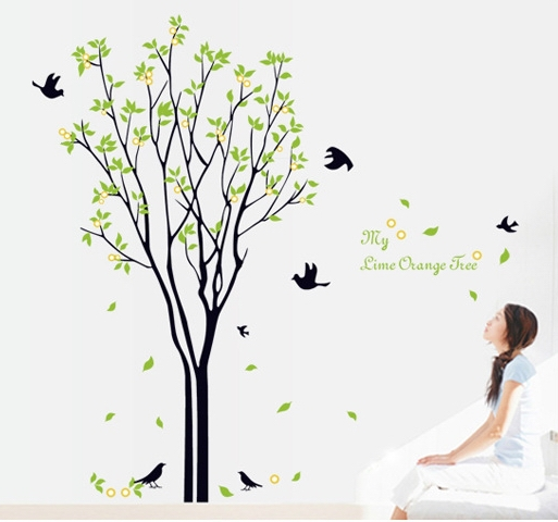 large tree birds vinyl wallpaper decals natural forest plants wall stickers mural children adult women men home room nice decor