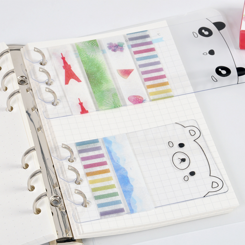 A6/A5 PVC Washi Tape Sheet Planner Accessories Dividers Subpackage Plate For Spiral Notebook Iner Page Binder