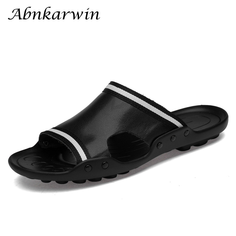 2019 New Fashion Slippers Leather Men Slides Summer Male Shoes Outside Sandals Men Slippers For Teen Plus Size 47