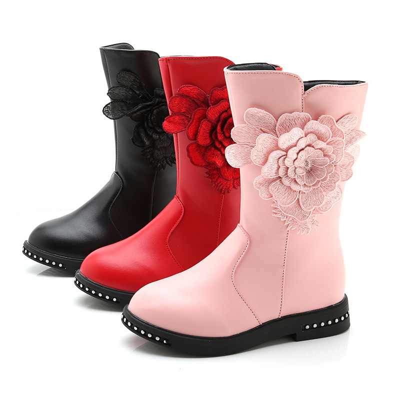 New Flower High Winter Snow Boots For Girls Plush Children Shoes Fashion Warm Kids Boots Princess Leather Shoes Red Black Pink