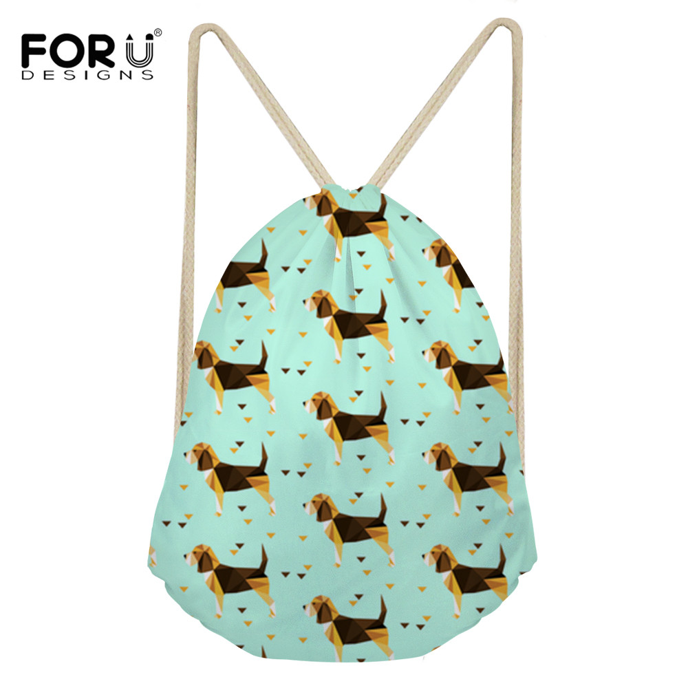 FORUDESIGNS Drawstring Bag Women Travel Pouch Beagles Pet Dog Prins Small Backpacks Mochilas Storage Dust-proof Bags For Shoes