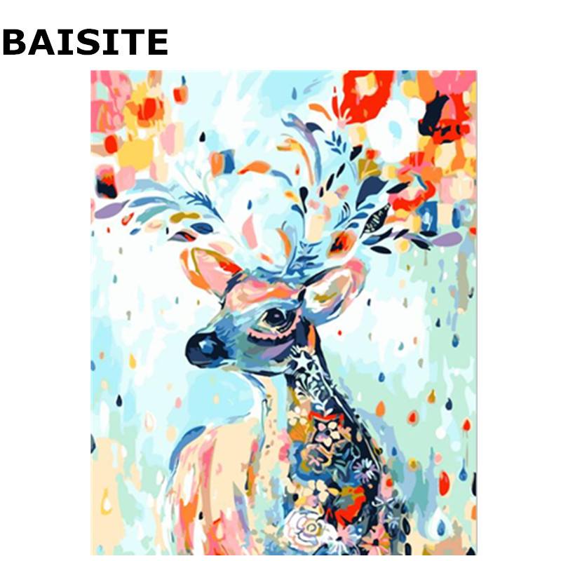 BAISITE On Canvas Painting Numbers Deer Abstract Home-Decor Unique Gift Colorful Frameless