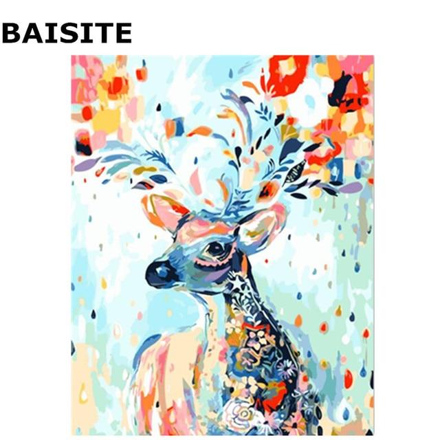 Très BAISITE Abstrait Coloré Cerf Sans Cadre BRICOLAGE Peinture Par  JM53