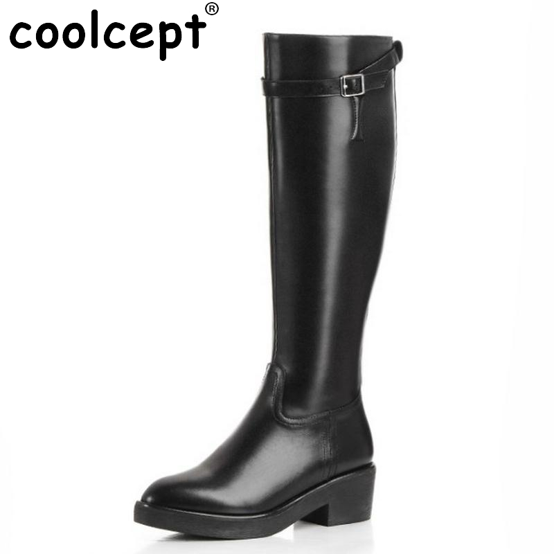 ФОТО Women Boots Genuine Real Leather Knee Boots Sexy High Heel Pointed Toe Riding Botas Winter Zipper Fashion Women Shoes Size 34-39