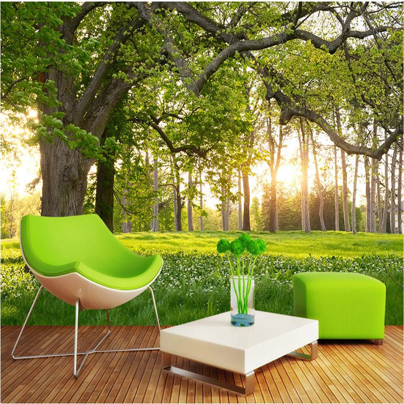 Customize Size Mural Wallpaper Background Trees Sunny Meadow Nature Wall Paper Restaurant Home